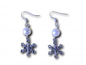 boucles d'oreilles crochet flocon perle blanche