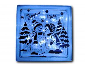 bloc lumineux bonhomme de neige bleu allumé
